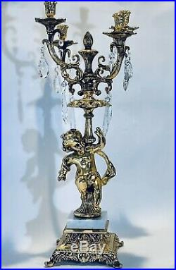 Stunning Vintage 24Inches Imperial French Brass and Crystal Candelabra 4 Candles