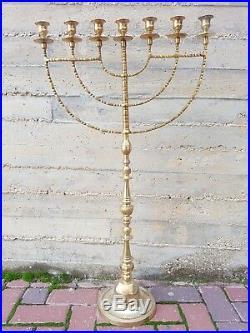 Super Big Brass Copper 75 cm XXL Menorah Vintage Candle Holder Judaica Israel
