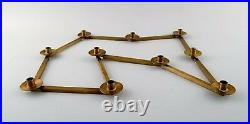 Swedish design table candlestick for 10 lights in brass, jointed. 1950/60s