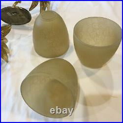THREE Brass Pineapple Candle Sconce 16 Glass Shades Hollywood Regency Palm Tree