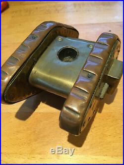 TRENCH ART COPPER & BRASS MILITARY TANK MODEL WWI World War 1 Era Candle Holder