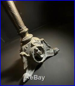 Tall (83cm) Weighty Antique Church Alter Candlestick Bronze Gothic Candle Holder
