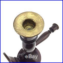 Tall Antique American Wooden Candlesticks Mahogany Wood Brass 15