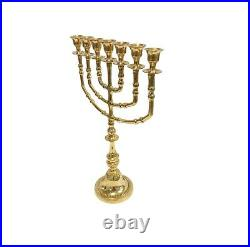 Temple Menorah 35 Cm /14 Inch Height 7 Branches Brass Candle Holder