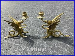 Tiffany Candle Holders, Signed Pair (Dragon/Griffin Form), Solid Brass VGC