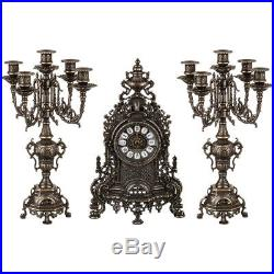 Triptych BAROQUE couple Candelabra candle holder with Watch brass burnished
