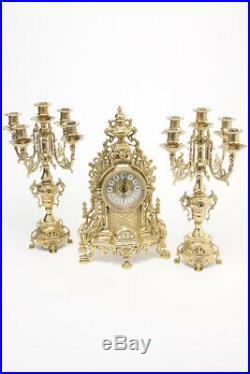 Triptych BAROQUE couple Candelabra candle holder with Watch in polished brass