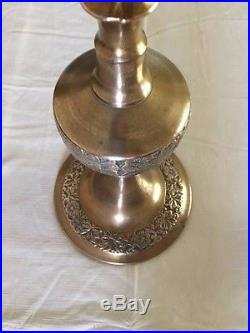 Two Large Ornate Brass Tall Floor Candlestick Altar Candle Holders 30.5 & 18
