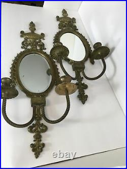 Two Vintage Antique Brass Double Candle Holder With Mirror Wall Sconce