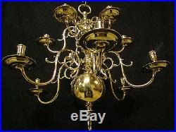 Unique Antique Dutch Bronze not Brass Chandelier 18th. C. 12 arms for real Candles