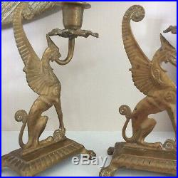 Unique Pair of Antique Brass Dragon / Griffin / Gargoyal Candlestick Holders