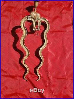Unique Vintage Brass Cobra Snake Candle Holder, Wall Sconce
