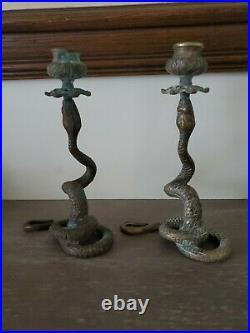 Unique Vintage Brass Snake Candle Holders Verdigris Patina Dark Gothic Victorian