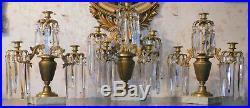 Unusual Brass and Crystal Girandoles Candle Sticks 19th Century