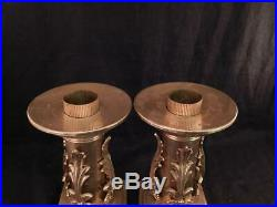 Unusual Pair Antique Victorian Gothic Polished Brass CandlesticksCandle Holders