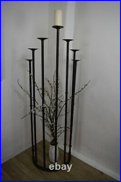 VERY TALL 5 7 arm candle Stand Iron Floor Candelabra arch industrial rustic