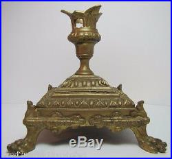 VICTORIAN CANDLESTICK Claw Foot Brass Bronze Gold Decorative Arts Candle Holder