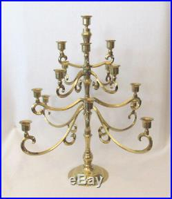 VINTAGE 1940s 50s BRASS CANDELABRA 17 CANDELS 8 ARMS 20 1/2 TALL 17 7/8 WIDE