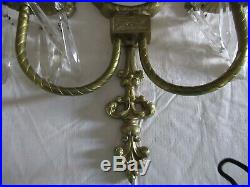 VINTAGE BRASS DOUBLE CANDLE HOLDER WITH MIRROR WALL SCONCE with DANGLE PRISMS