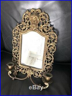VINTAGE BRASS Double CANDLE HOLDER WITH MIRROR WALL Mans Face Must SEE