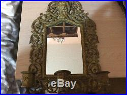 VINTAGE BRASS Triple CANDLE HOLDER MIRROR WALL the Greek god of wine Bacchus