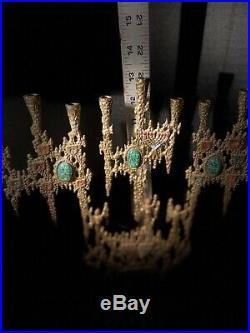 VINTAGE BRASS WAINBERG HANNUKA MENORAH BRUTALIST CANDLE HOLDER MID CENTURY 1970s
