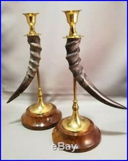 VINTAGE LOT of 2 Candle Stick Holders Horn Brass Rustic Cabin Collectible VTG