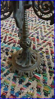 VINTAGE ORNATE BRASS 7 ARM 8 cups CANDELABRA 19 TALL With FINIAL