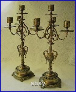 VINTAGE ORNATE BRASS Candle CANDELABRA PAIR Art Nouveau Deco Antique