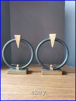 VNTG MCM DECOR ART DECO SET OF 2 Candle Holders Brass and Black Metal USED
