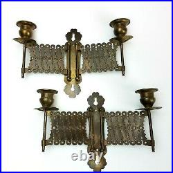 VTG ATQ Pair 2 Brass Piano Accordion Folding CANDLE HOLDERS Wall SCONCES 1920's