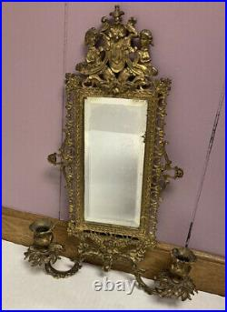 VTG Art Nouveau Mirror Brass Candle Holders Wall Hanging Rare Hollywood Regency