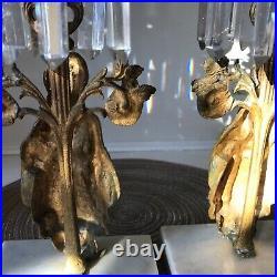 VTG BRASS CARVED WOMAN FIGURAL CANDELABRA SET CRYSTALS ORNATE candle holders