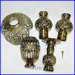 VTG Large Ornate Brass Candle Stick Holders Floor Altar Pillar Church Temple Set