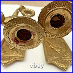 VTG Pair GATCO Solid Brass Cherub Candle Holder Wall Sconces 11 Tall Ornate