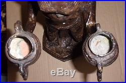 Very Rare! MAITLAND SMITH Vintage Brass Monkey Warrior Double Candle Holder
