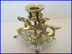 Victorian Antique Brass Dragon Candle holder by Adolph Frankau and Co London