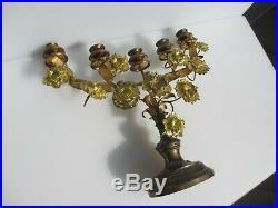 Victorian Brass Candlestick Candle Holder Candelabra Rococo Old Antique Ormolu