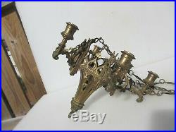 Victorian Brass Hanging Candlesticks Candle Holders Gothic Church Light Antique