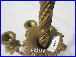 Victorian Brass Wall Sconce Candle Holder Candelabra Old Light Antique Gold