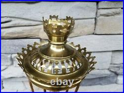Vintage 1900's Candle Holder Brass Fancy Catholic Altar Church Made in France