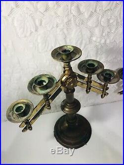 Vintage 2 Pair Solid Brass 5 Candle Candelabra Adjustable Altar Church Funeral