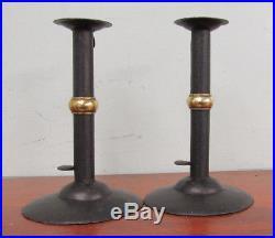 Vintage 7 1/4 Wedding Band Hogscraper Candlesticks Iron & Brass Primitive