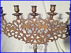 Vintage Antique Brass Bronze Candelabra Ornate 7 Candles Heavy Candle Church