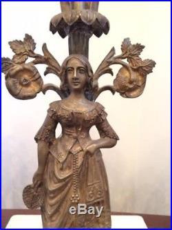 Vintage Antique Brass Crystal Marble Figural Candelabra Candle Holder