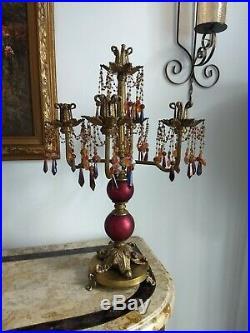 Vintage Antique Brass Metal Victorian Style Candelabra Candle Holder
