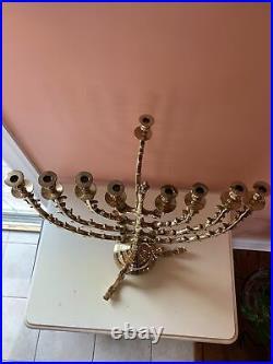 Vintage Antique Judaica Menorah Large Solid Brass 9 Branch Candle Holder 17x20