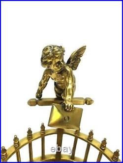Vintage Art Deco nouveau brass cherub candle inkwell removable candle holders'