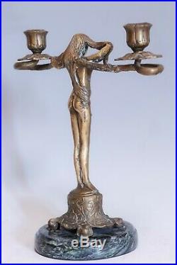 Vintage Art Nouveau Style Figural Woman Candle Holder, Solid Bronze/Brass