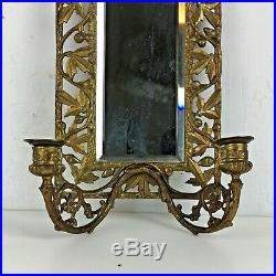 Vintage Beveled Glass Mirror Sconce Brass Candle Holders Décor Art Nouveau Gift